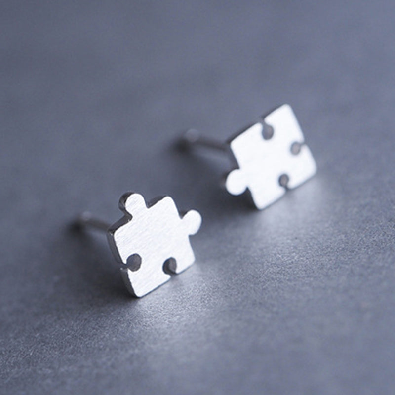 Women Real Silver Jewelry Personized Design Puzzle Stud Earring Quality Allergy Free Earring