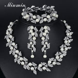 Synthetic Pearl Leaves Bridal Jewelry Sets Crystal African Beads Jewelry Set for Women Wedding