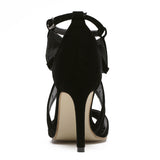 Vogue Cut-Outs Sexy Women's Peep Toe High Heels Sandals Shoes Woman Ankle Strap Buckle Shoes Suede Fretwork Black Grey