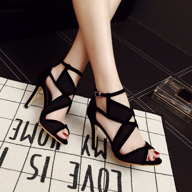 cac78e721d Vogue Cut-Outs Sexy Women's Peep Toe High Heels Sandals Shoes Woman An