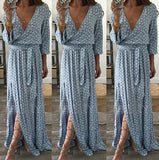 Women Floral Print Long Sleeve Boho Dress Summer Deep V Neck Long Maxi Dress