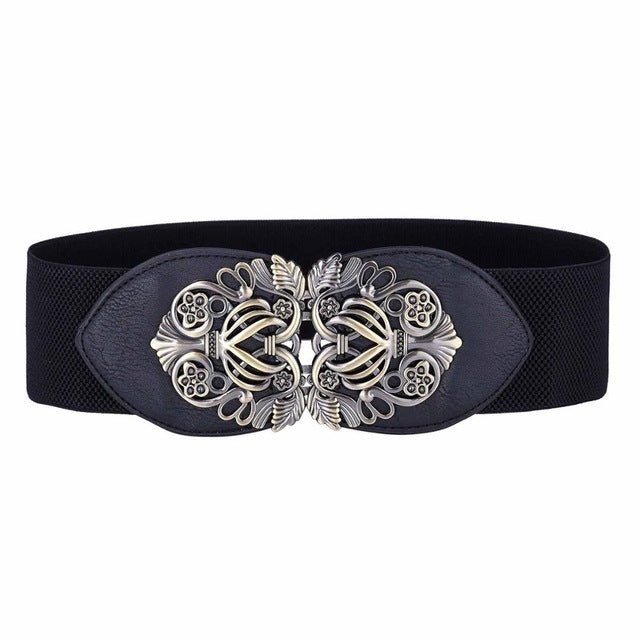 Good quality belts women gold metal belt ladies girls metal leaf 2017 stretchy elastic waist belt waistband belts for women