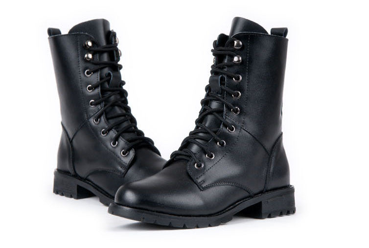 Autumn Winter Black Lace Up Army Boots Women PU leather Martin Boots Lovers Motorcycle Boots For Women - Style Lavish
