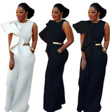 Women Ruffles Details Wide Legs Jumpsuits Fashion  Summer Sleeveless Bodycon Suits One Pieces Overall