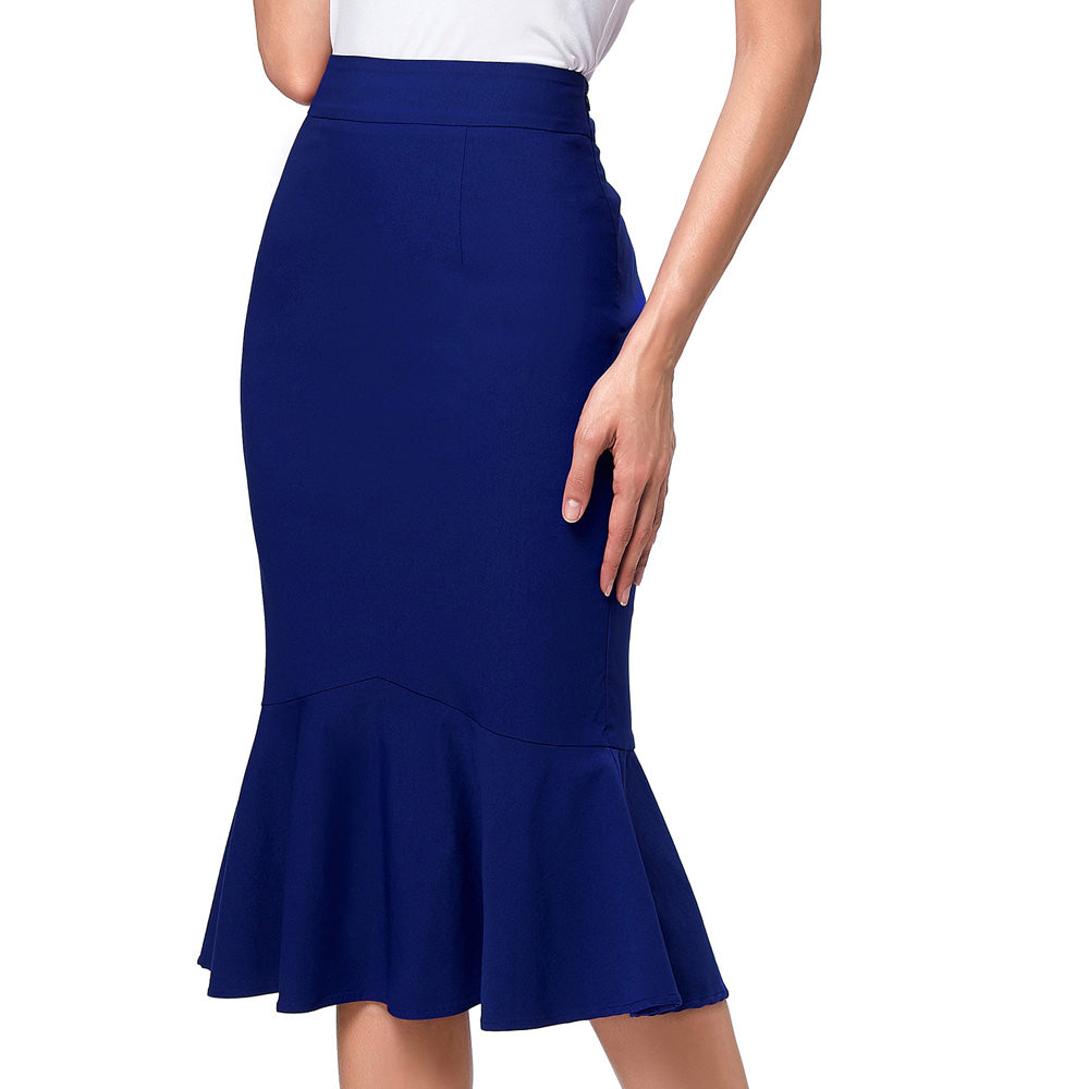 Pencil Skirt Women High Waist Big Size Slim High Elastic Mermaid Skirts OL Causal Midi