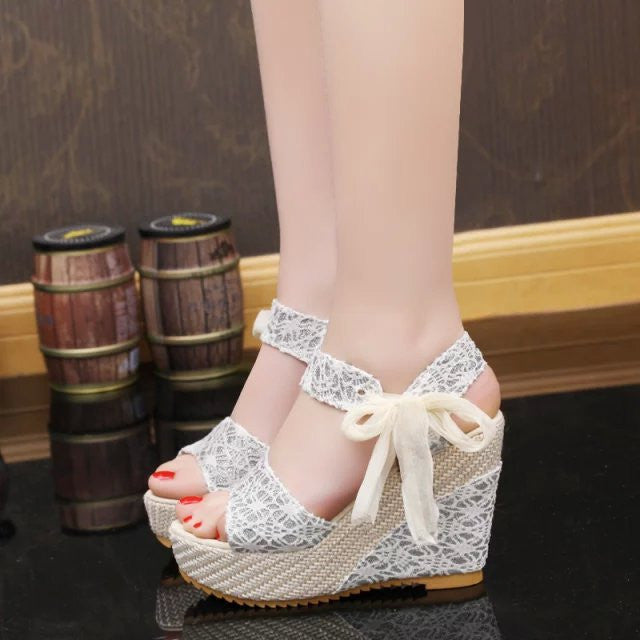 Women Summer Shoes New Sweet Flowers Buckle Open Toe Wedge Sandals Floral high-heeled Shoes - Style Lavish