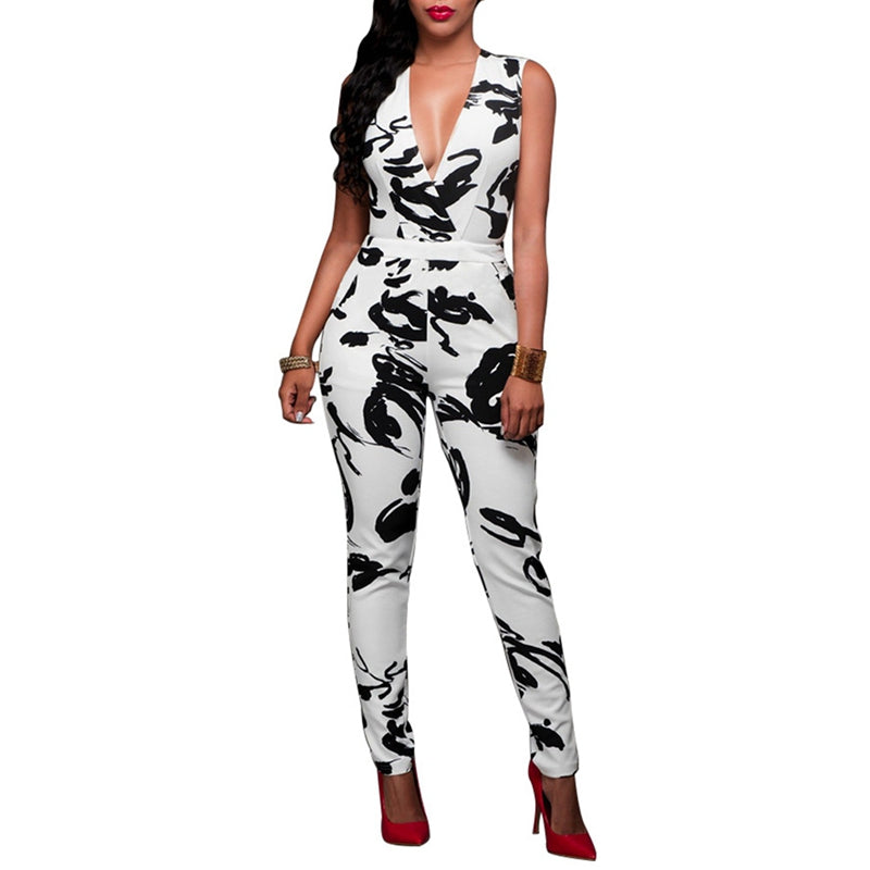Women Sexy Deep V-neck Print Bandage Jumpsuits