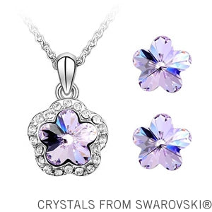 4 Colors Plum Flower Pendant Necklace Earrings Jewelry Set Made With Swarovski Elements Jewelry For Women - Style Lavish