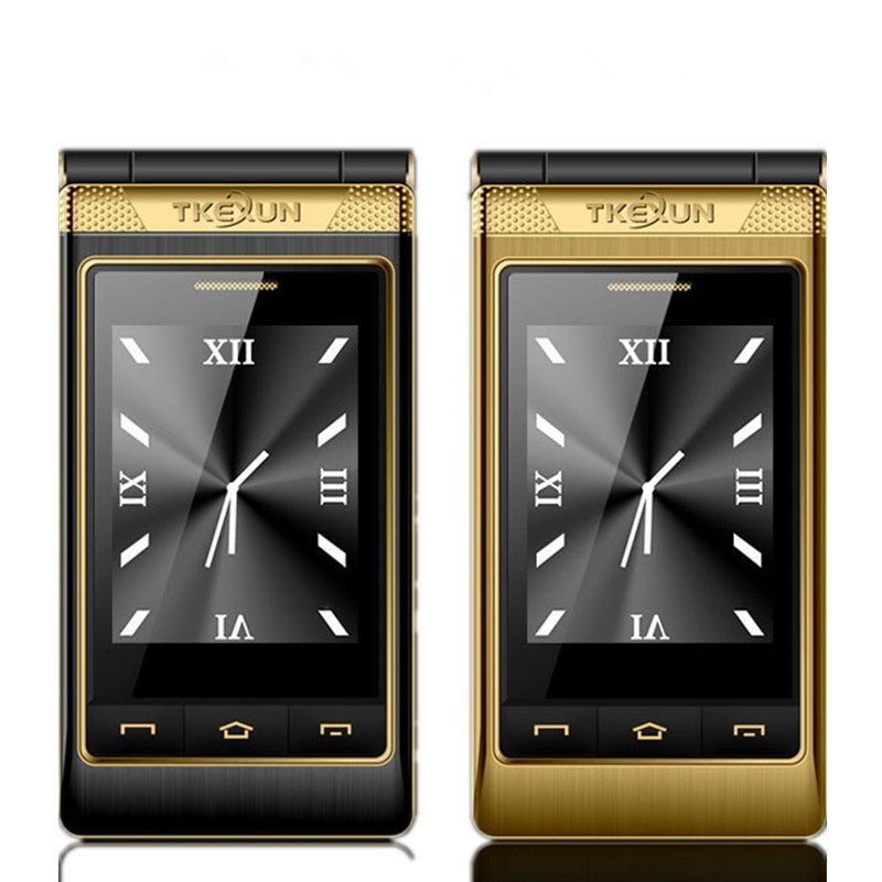 TKEXUN G10 Women Flip Phone With Double Dual Screen Dual Sim Camera MP3 MP4 3.0 Inch Touch Screen Luxury Senior phone Cell Phone