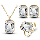 Crystal Square Pendant Necklace Earrings Rings Fashion Charm Jewelry Sets - Style Lavish