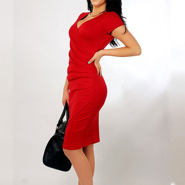 Women Summer Elegant Casual Pencil Dresses Sexy V Neck Bodycon Office Dress - Style Lavish
