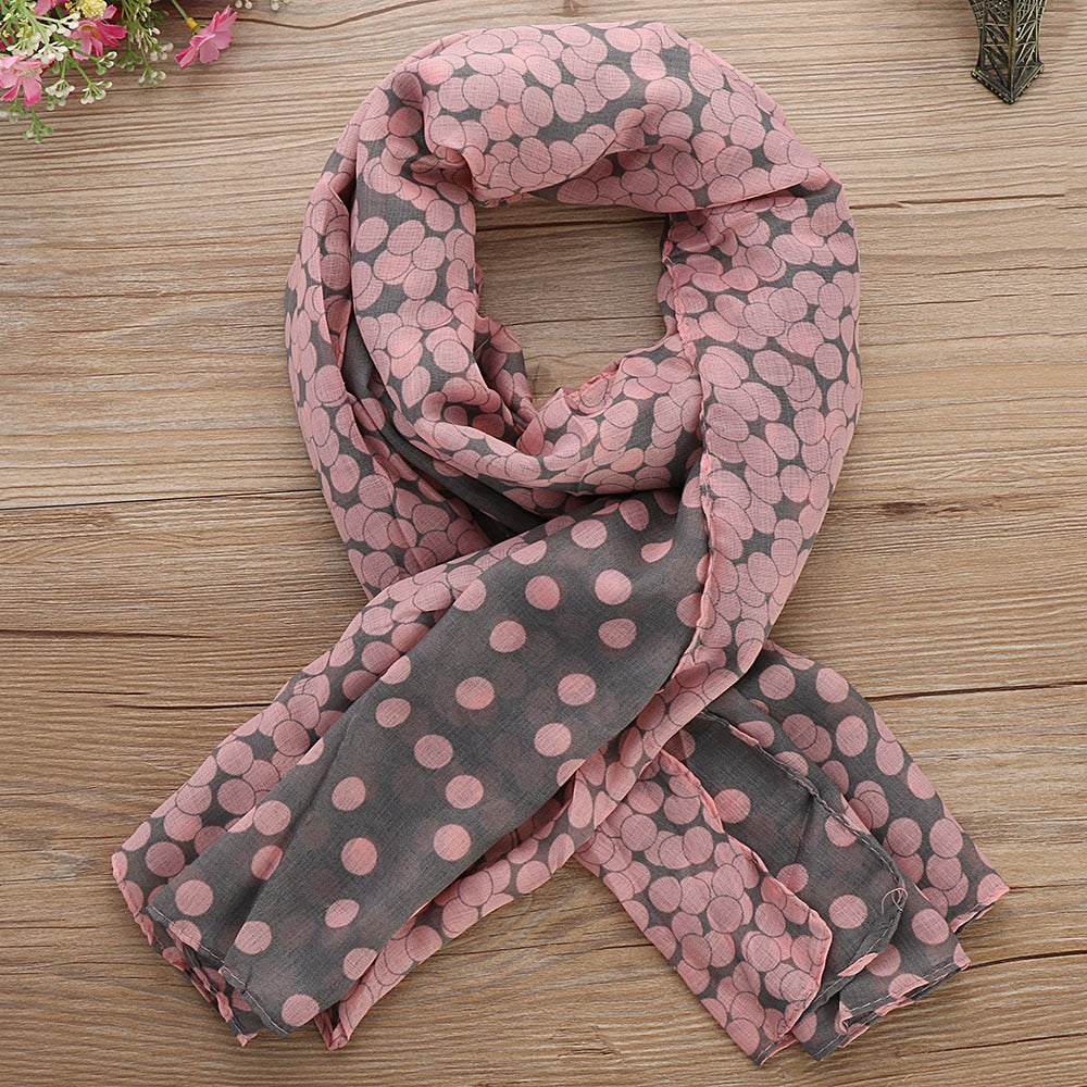 1PC Lovely Fashion Women Soft Cotton Lady Comfortable Long Neck Large Scarf  Shawl Voile Stole Dot Warm Scarves Gift