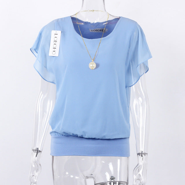 Women Tops Fashion Summer Chiffon Blouse Ruffle Batwing Short Sleeve Casual Shirt