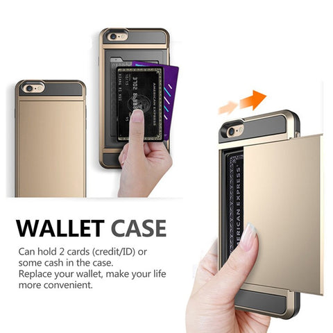 Hybrid Tough Capa Case For Apple iphone 5 5S SE 6 6S 7 8 Plus Slider Card Holder Wallet Armor Phone Back Cover for iphone 7
