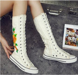 Fashion Girl's Canvas Shoes Boots Women Knee High Lace up Casual Canvas Shoes - Style Lavish
