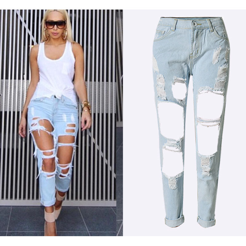 SUNSPA Apparel Boyfriend hole ripped jeans women pants Cool denim vintage straight jeans for girl Mid waist casual pants female
