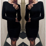 Autumn Lace Patchwork Women Dress Fashion O-neck Long Sleeve Elegant Casual Bodycon  Dresses - Style Lavish