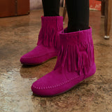 Autumn Winter Martin Boots Cotton-padded Flats Women Ankle Boots Fashion Sweet Tassel Fringe Slip On - Style Lavish