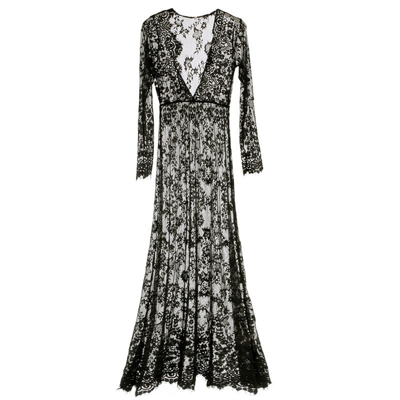 Fashion Summer Women's Lace Floral Boho Long Maxi Dress Hollow Out Long Sleeve V Neck Dresses - Style Lavish