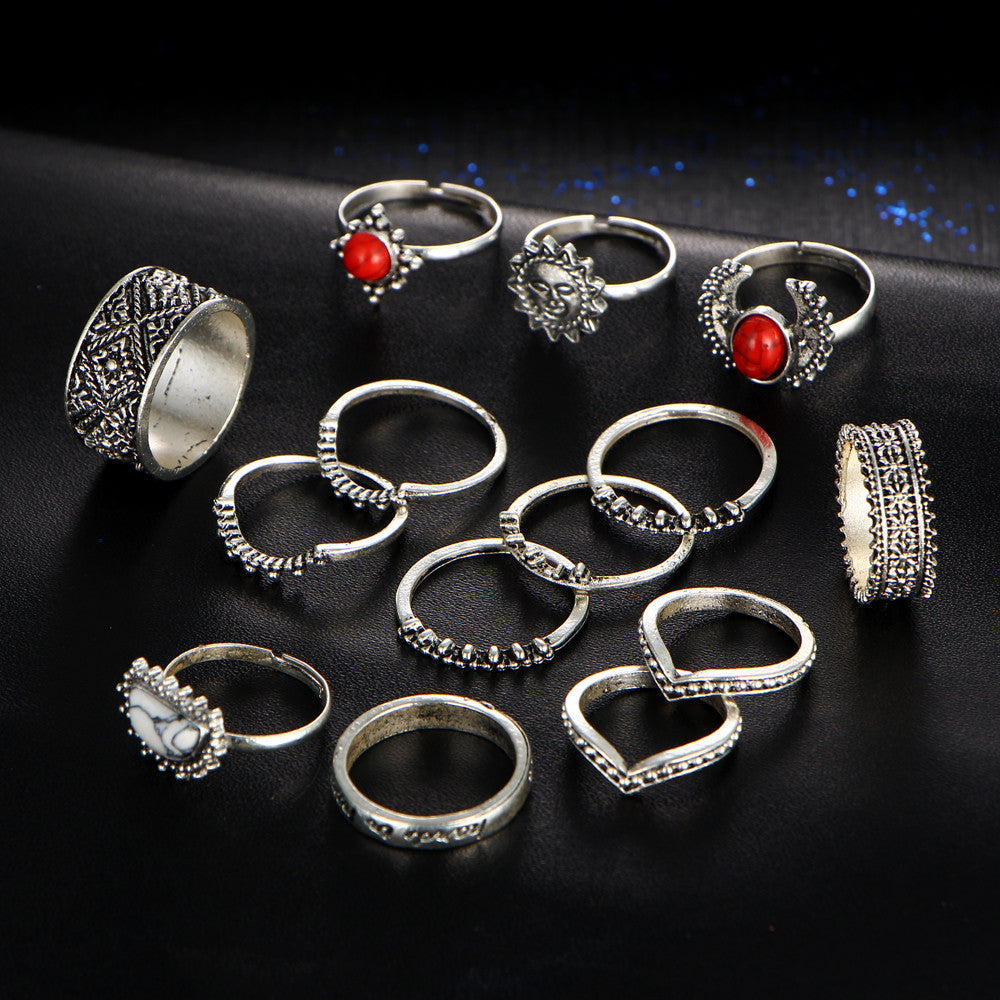 14pcs/set Vintage Bohemian Midi Finger Rings for Women Moon Sun Ethnic Red Natural Stone Knuckle Rings - Style Lavish