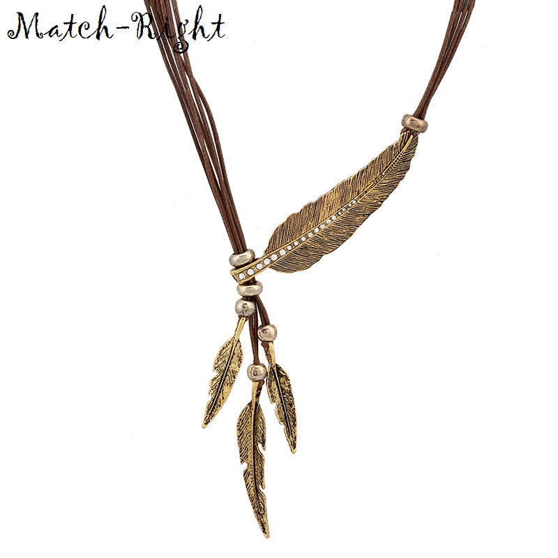 Alloy Feather Statement Necklaces Pendants Vintage Jewelry Rope Chain Necklace Women Accessories - Style Lavish