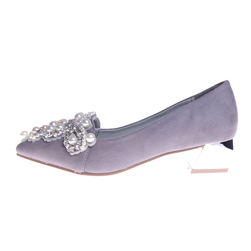 Women Pumps Med Strange Heel Fashion PU Leather Wedding Pumps Spring Autumn OL Crystal Beading Shoes