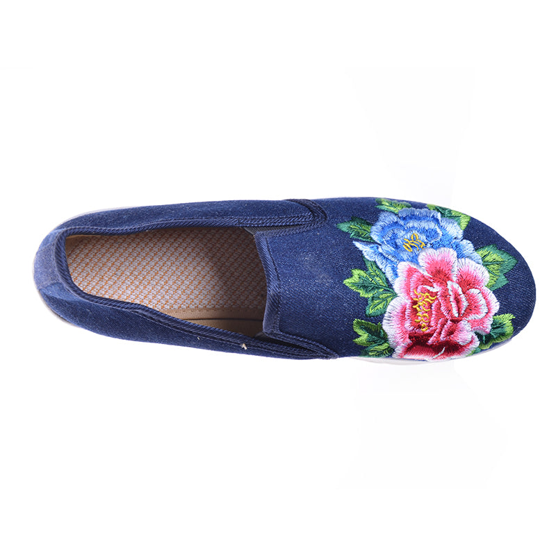 Embroidery Flower Women Swing Shoes Slip-on Hemp Handmade Canvas Shoes National Style Cloth Flats - Style Lavish
