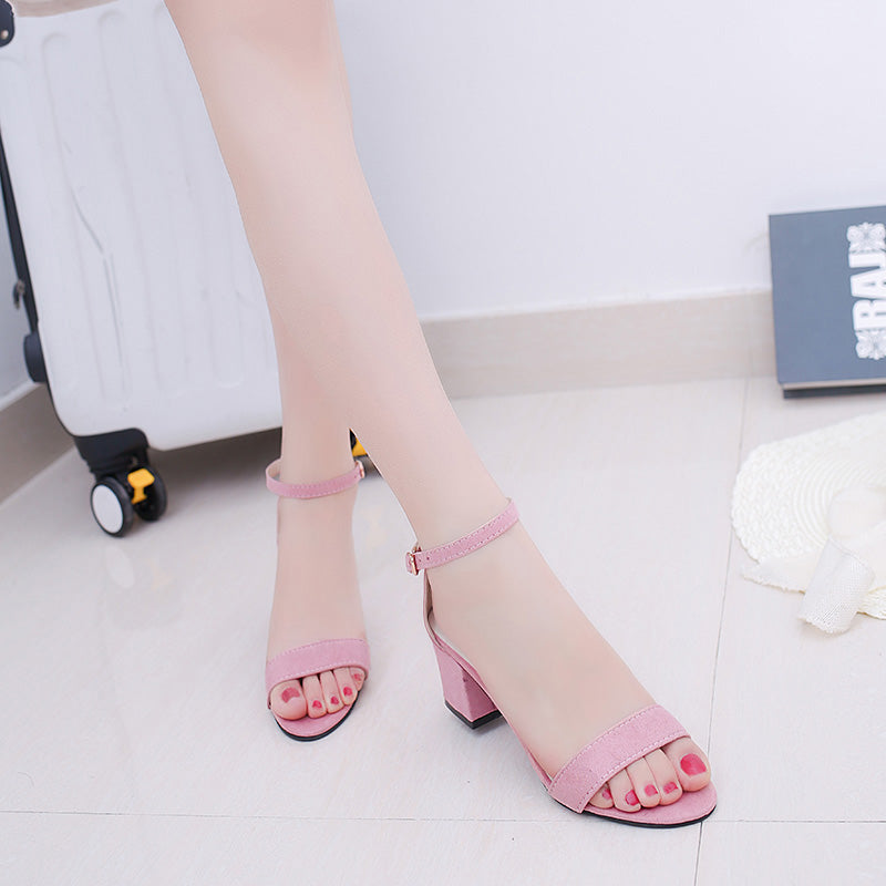 Women Summer Sandals Open Toe Flip FlopsThick Heel Shoes Korean Style Gladiator Shoes