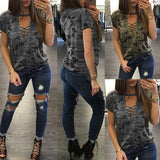 Women Fashion Short Sleeve Camouflage Loose Blouse Summer Lace Up Casual Blouses Shirts Tops