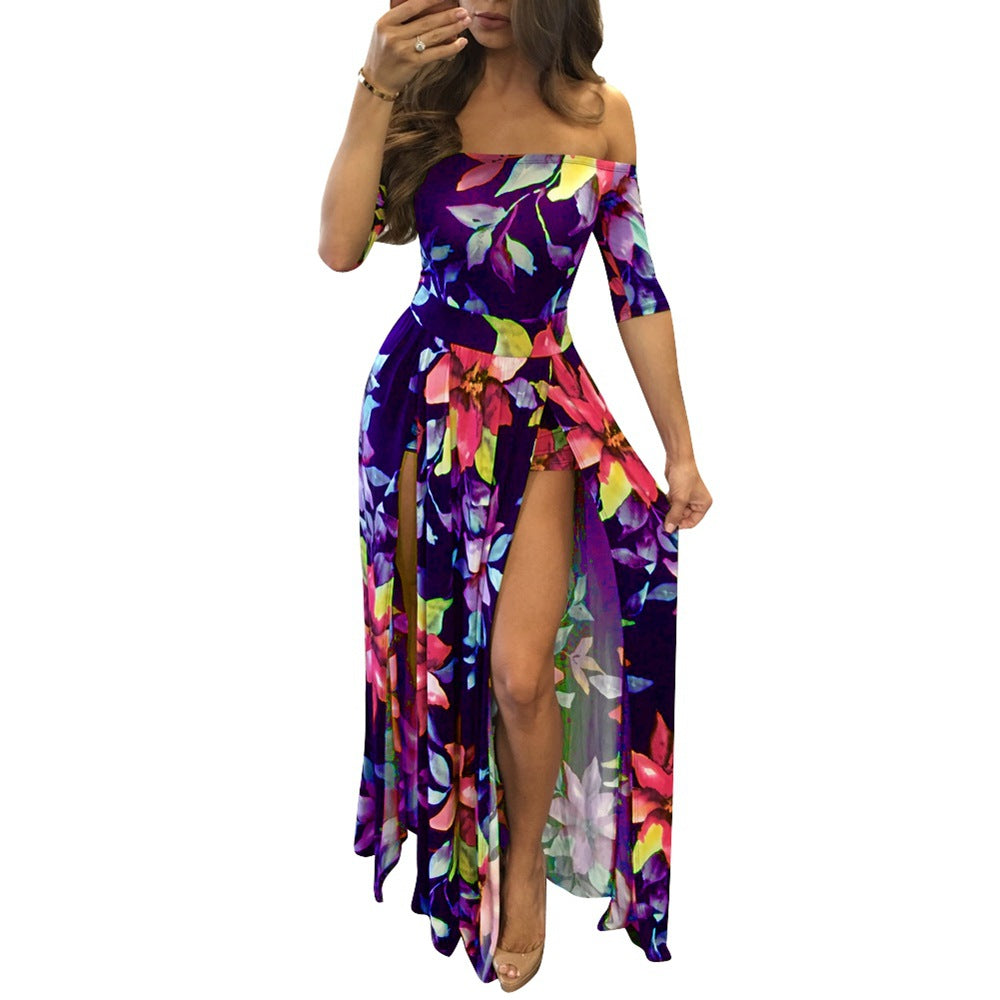Women Summer Beach  Rompers and Jumpsuits Burgundy Flower Print Short Sleeve Off The Shoulder High Low Romper