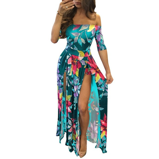 Women Off Schouder Floral Short Sleeve Bodycon Boho Cloth High Split Rompers Womens Jumpsuit
