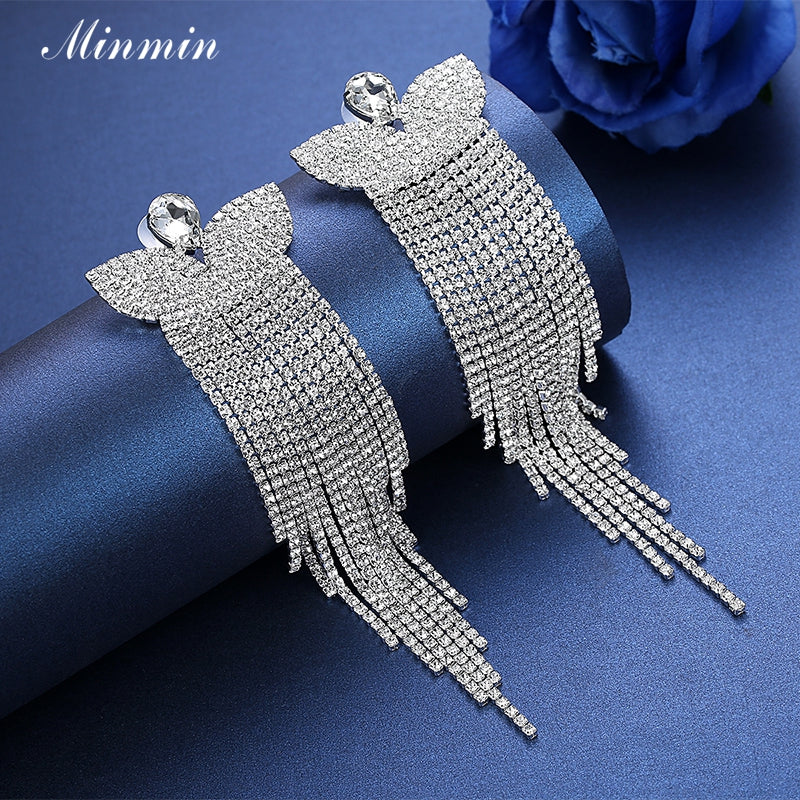 Silver Crystal Long Earrings Butterfly Pendant Dangling Tassel Earrings Jewelry for Women