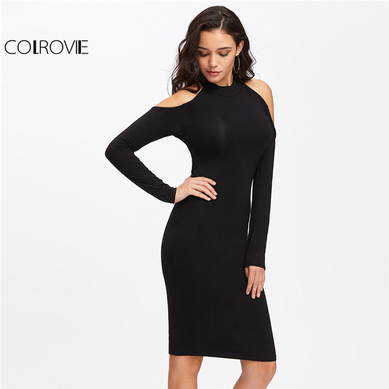 Women Backless Bodycon Pencil Dress Hollow Out Woman Open Shoulder Long Sleeve Bow Halter Dress