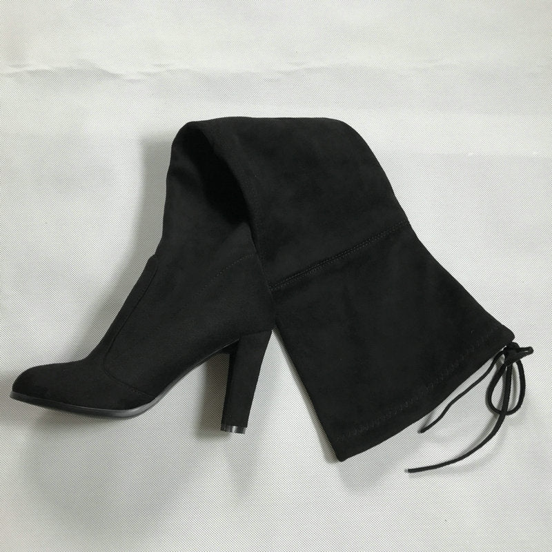 Women Faux Suede Thigh High Boots Stretch Slim Sexy Fashion Over the Knee Boots Shoes High Heels