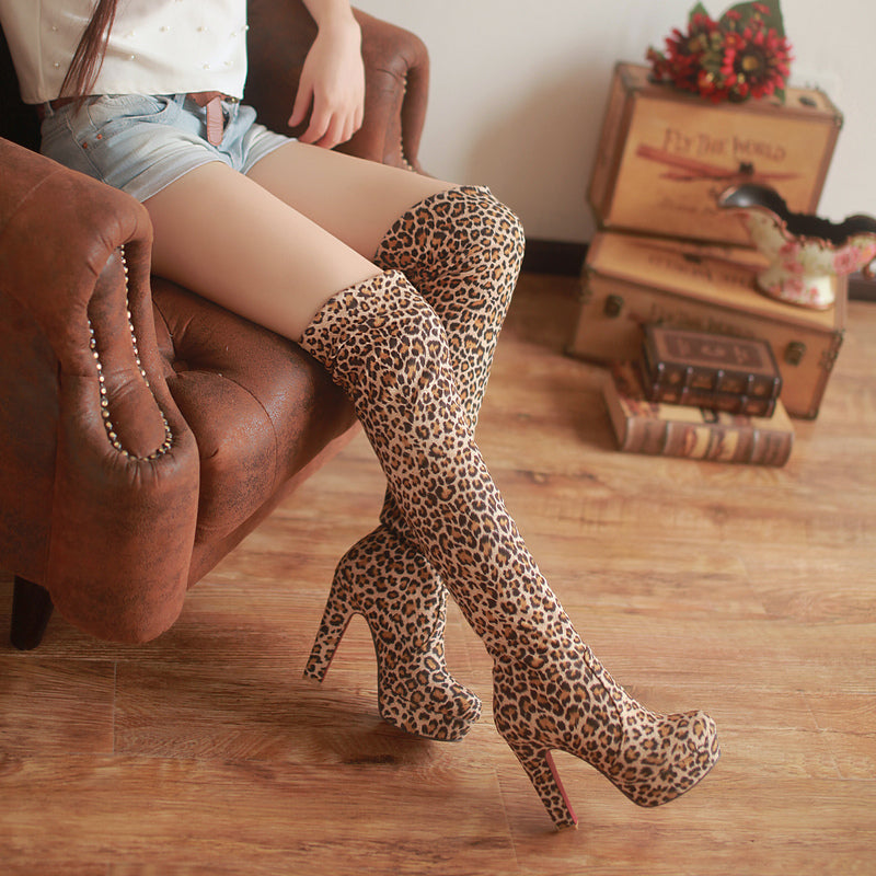 Stretch Thigh Heel Faux Suede Over the Knee Boots Chunky High Heel Boots Slip-on Shoes