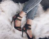 Fashion Sandals Open Toe Heels Summer Faux Suede Women's High Heel Shoes - Style Lavish