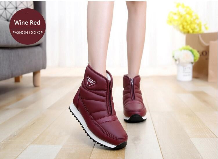 Women Boots Winter Waterproof PU Cotton Warm Snow Boots Zip Platform Ankle Boots Shoes