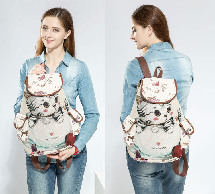 Casual Canvas School Backpack Women Lovely Cat Printed Drawstring Backpack Bag - Style Lavish