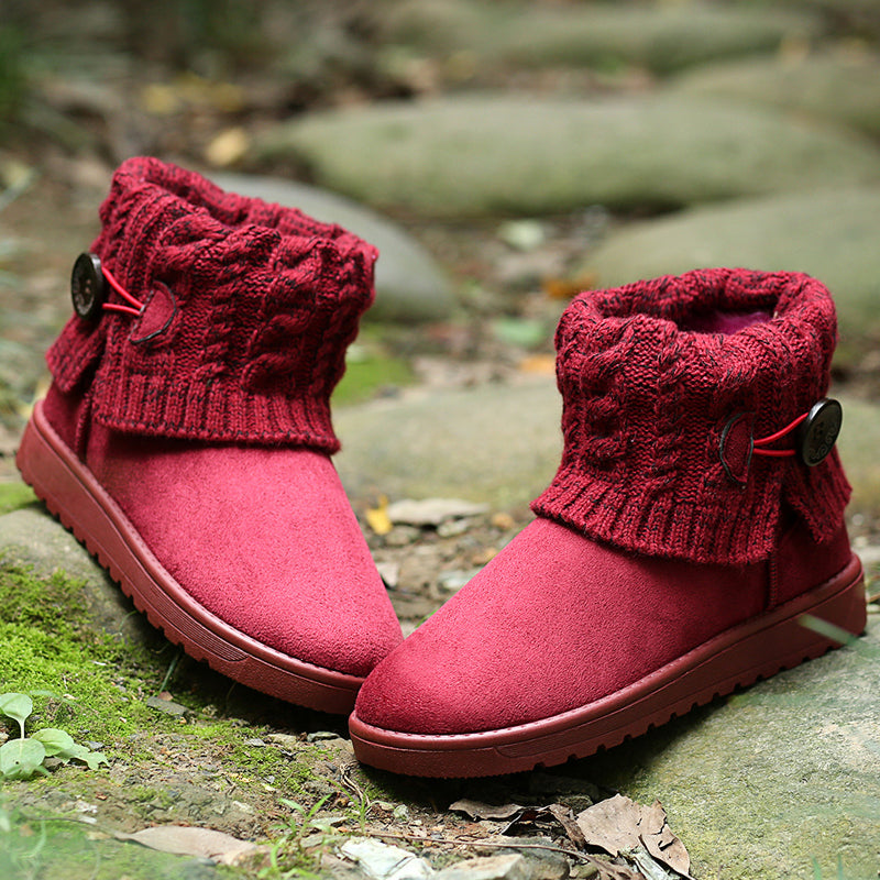 Women's Winter Warm Snow Boots Round Toe Flat Shoes Ankle Boots
