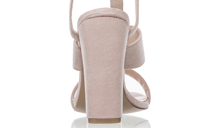 Suede Leather Sandals High Heels Buckle Shoes Woman Khaki Sandals Ankle Strap Heels