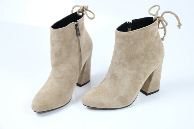Round Toe Stretch Fabric Boots