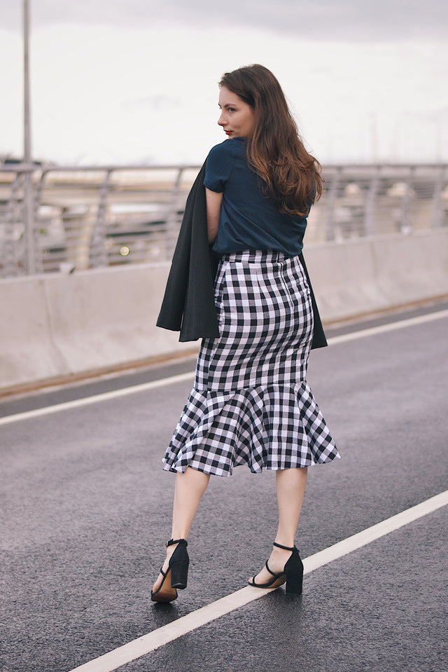 Women Summer Vintage Skirt Black Plaid Trumpet Ruffles Mermaid Elegant Vintage Skirt
