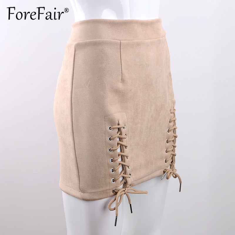Suede Leather Mini Skirt Autumn Winter Women Vintage High Waist Lace-Up Split Bodycon Pencil Skirts