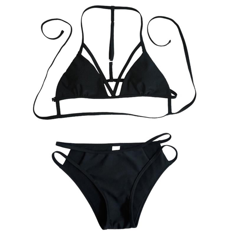 Push-Up Bikinis Sexy bandage design Halter bikini swimsuit  women High Waist  Women's swimwear