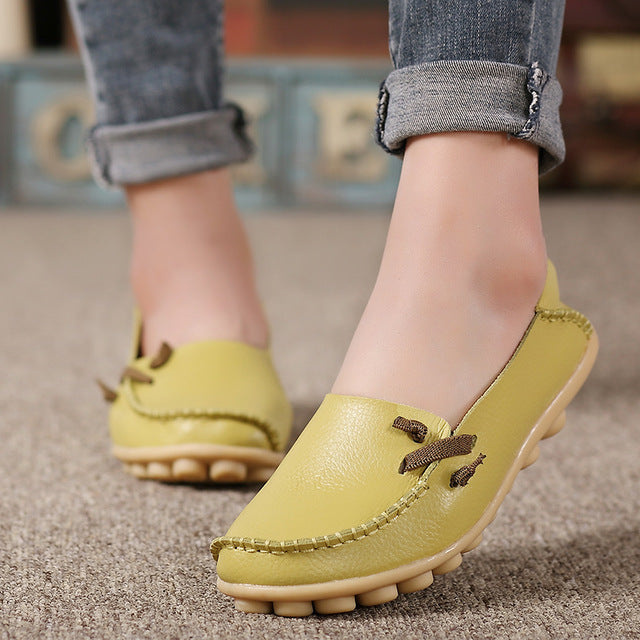 Genuine Leather Lace up Casual Flat Shoes