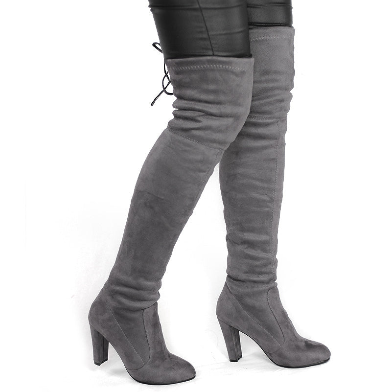 a2dcd88eeae Women Faux Suede Thigh High Boots Fashion Over The Knee Boot Stretch F