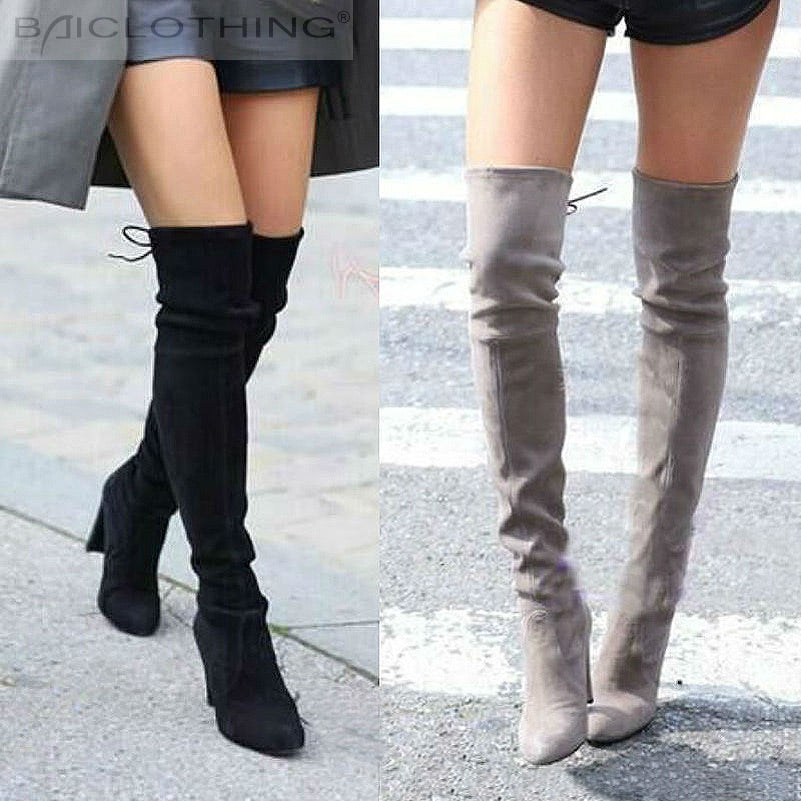 Women Faux Suede Thigh High Boots Fashion Over The Knee Boot Stretch Flock Sexy Over The knee High Heels Woman Shoes