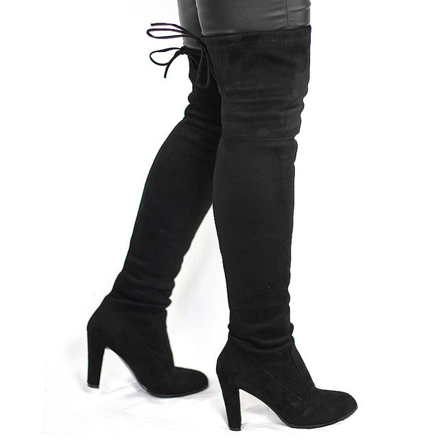 c7f0a3f762e6c Women Faux Suede Thigh High Boots Fashion Over The Knee Boot Stretch Flock  Sexy Over The knee High Heels Woman Shoes