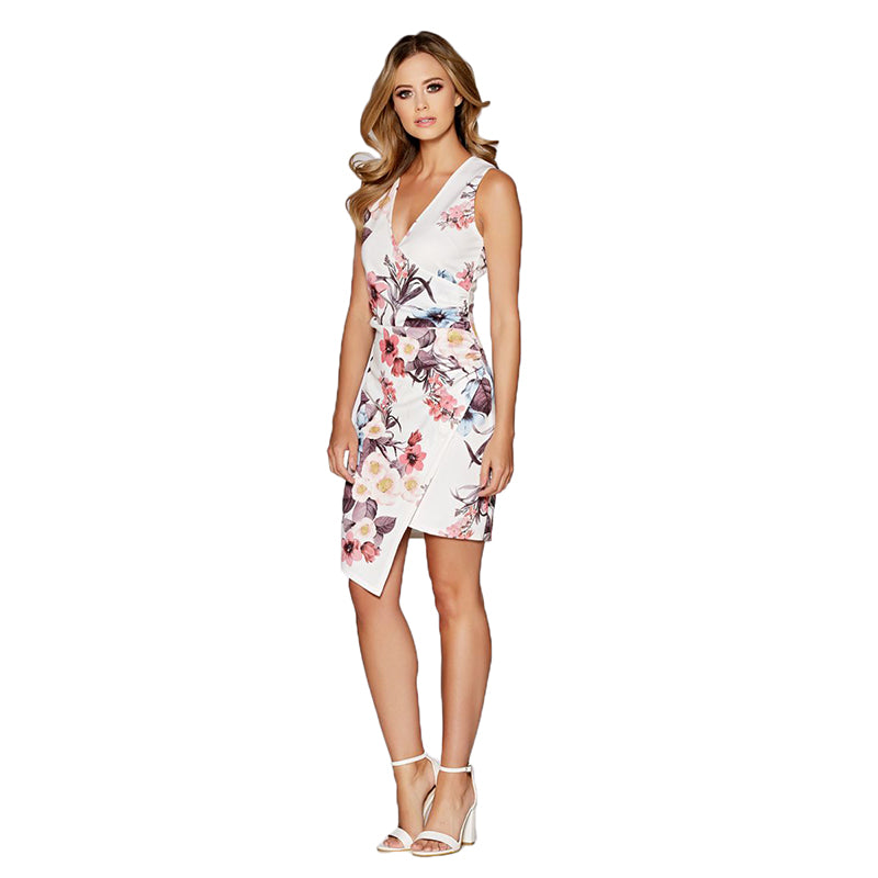 Summer Dress Sleeveless Asymmetrical Elegant Floral Print V-neck Wedding Party Sheath Bodycon Wrap Mini Dress