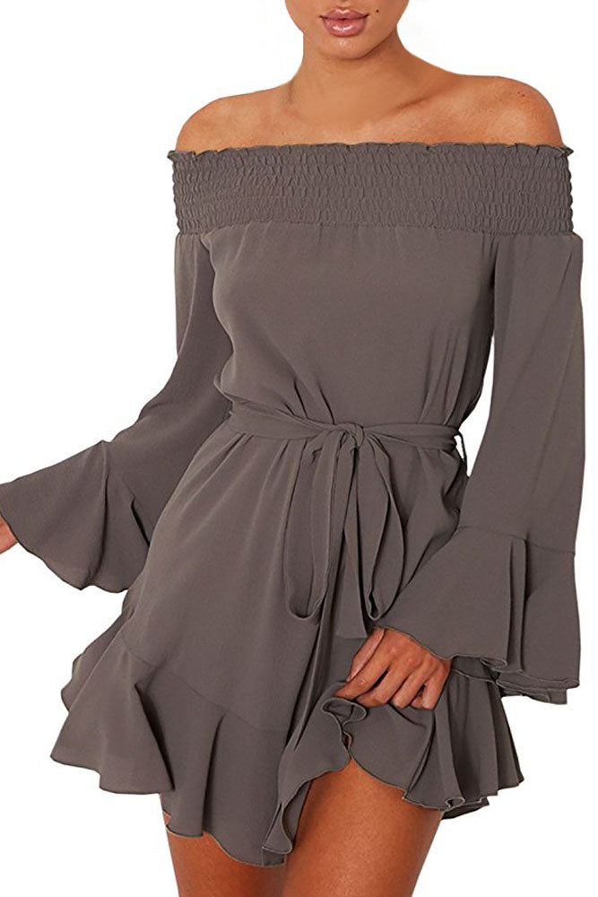 Women Autumn Off Shoulder Flare Long Sleeve Drop Hem Pleated Mini Dress